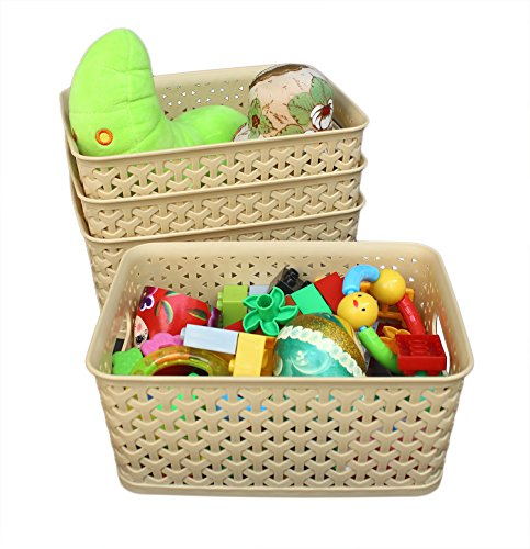 Weaving Plastic Storage Baskets/Bins Organizer with Handles,Set of 4,Tan/Khaki,Honla