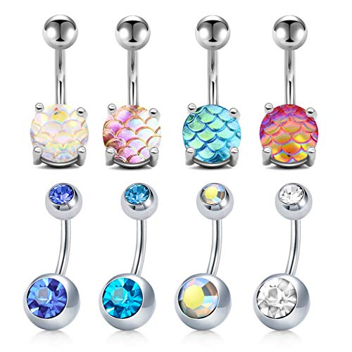 (JFORYOU 14G 8 Pcs Belly Button Rings for Women Girls Stainless Steel Navel Rings Mermaid Fish Scale CZ Body Piercing)