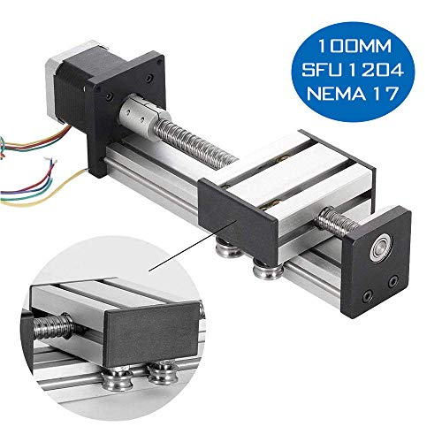 100mm Linear Rail Slide, DIY CNC Router Parts for X Y Z Axis Linear Stage Actuator Router Ballscrews SFU1204 with Nema17 42 Stepper Motor (3.94inchs) ()