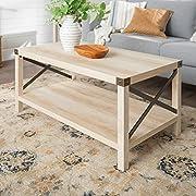Walker Edison Furniture Company Rustic Modern Farmhouse Metal and Wood Rectangle Accent Coffee Table Living Room Ottoman Storage Shelf, White Oak