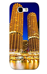 Hard Plastic Galaxy Note 2 Case Back Cover, Hot Marina City Towers At Night Picture Case For Christmas's Perfect Gift