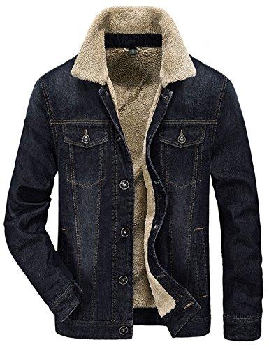 Yeokou Men's Casual Sherpa Lined Jean Denim Trucker Jacket (Large, Black)