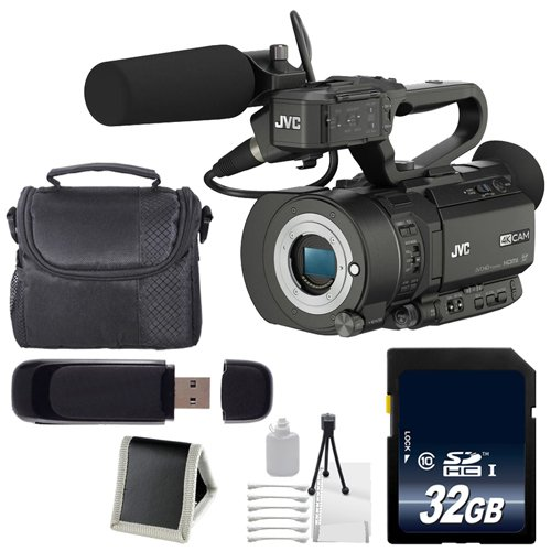 JVC GY-LS300 4KCAM Handheld S35mm Camcorder (International Model) (Body Only) + 32GB SDHC Class 10 Memory Card + Carrying Case + SD Card USB Reader + Deluxe Starter Kit 6AVE Bundle