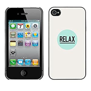 Soft Silicone Rubber Case Hard Cover Protective Accessory Compatible with Apple iPhone? 4 & 4S - relax quote positive inspiration slogan