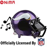NIMA Portable Bluetooth Speaker,NFL Helmet Wireless Medium Dual Stereo Speaker with, AUX, USB Port, Loud Subwoofer, HD Sound & Bass- Minnesota Vikings