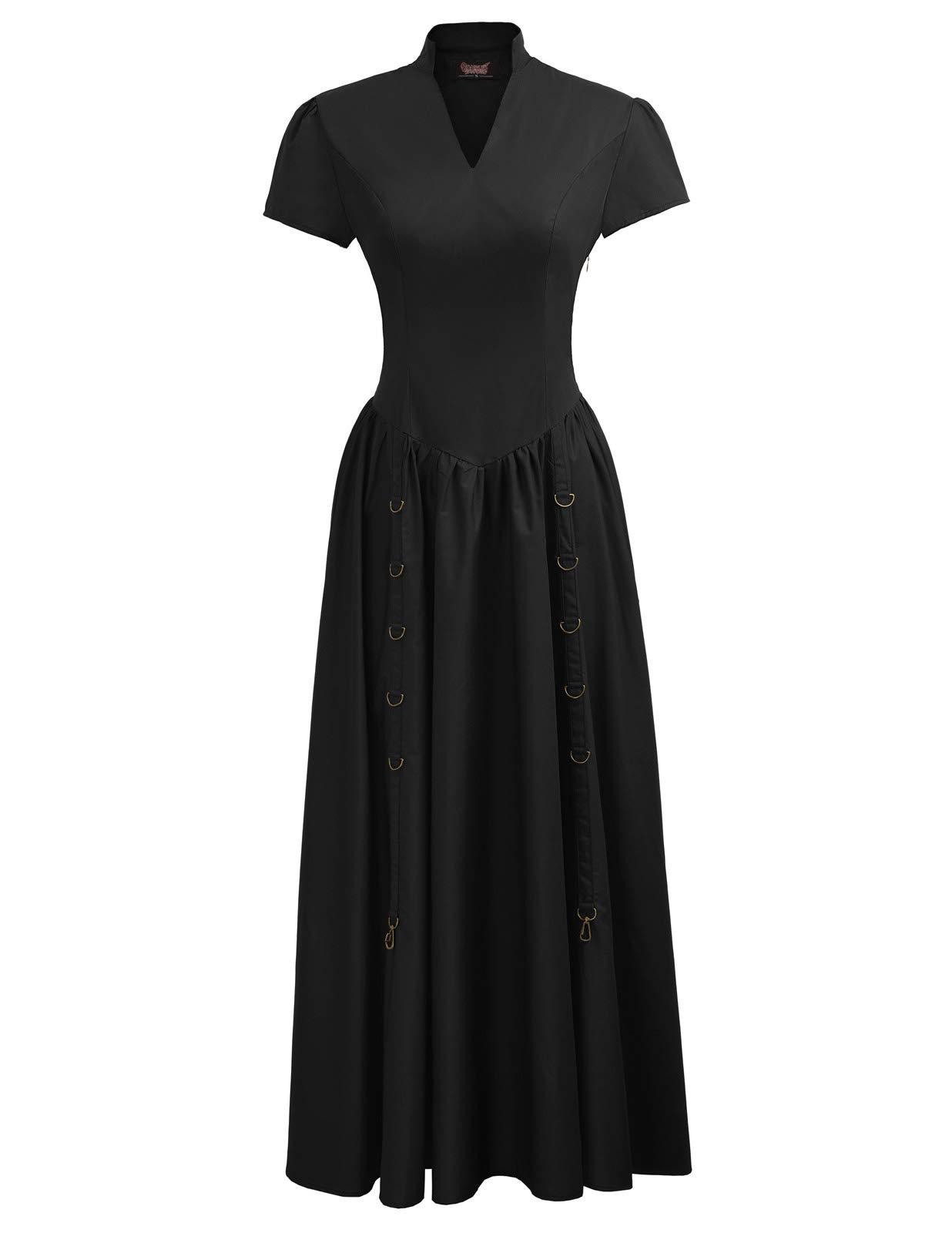 Women Victorian Vintage Steampunk Short Sleeve V-Neck Long Dress 3