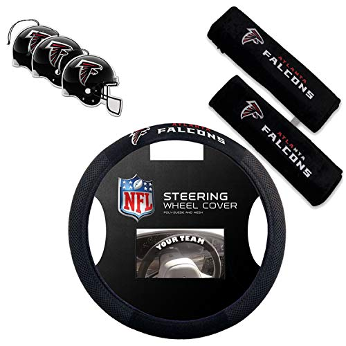 Fremont Die/TeamProMark Official National Football League Fan Shop Authentic NFL Auto Accessories Bundle - Team Steering Wheel Cover, Air Fresheners and Seat Belt Cover (Atlanta Falcons)