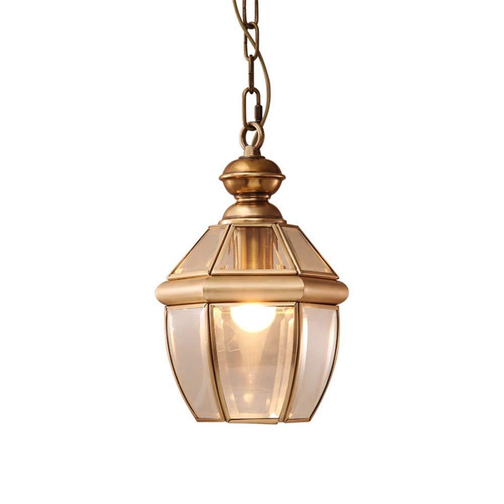 FLYRCX Alle Kupfer im Europäischen Stil, vereinfachte Glas Lampenschirm Esszimmer Schlafzimmer Kronleuchter 18cmx 28 cm