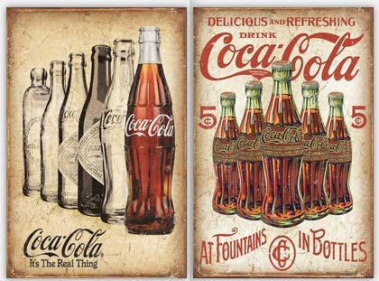 FSTIKO Vintage Coca Cola Tin Signs, Delicious and Refreshing Drink Coca Cola & Coke The Real Thing Retro Decor for Men Cave Home Wall Plaque Poster Cafe Bar Pub 8X12Inch 2Pcs
