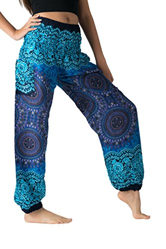 Bangkokpants Women's Boho Pants Hippie Clothes Yoga Outfits Peacock Design One Size Fits (Bohorose ()
