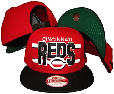 Cincinnati Reds Red/Black Two Tone Plastic Snapback Adjustable Plastic Snap Back Hat / Cap