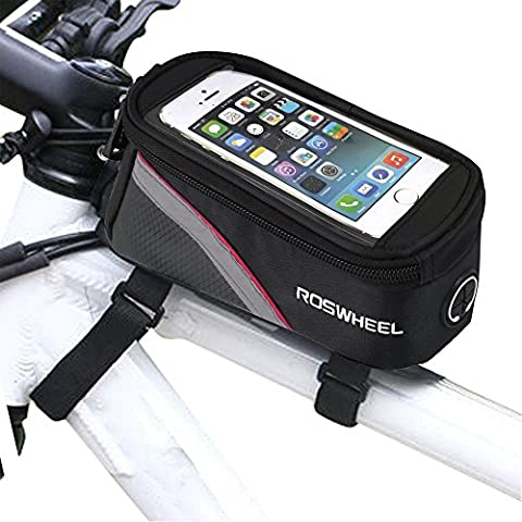 Bicycle Bag Bike Frame Front Tube Beam Bag Transparent PVC Cycling Pannier Pouch Basket for 5.5 inch Mobile Phone Screen touch - Front Pannier