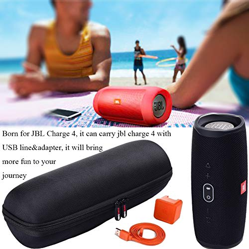 Case for JBL Charge 4 / JBL Charge 5 / JBL Pulse 4 Portable Waterproof Wireless Bluetooth Speaker [ Fits USB Plug and Cable & More ] - Black (Case Only)
