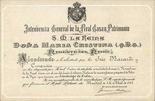 - Vintage Advertising Postcard: Bacardi - Royal Warrant from the Queen Maria Cristina 1888 Madrid, Spain