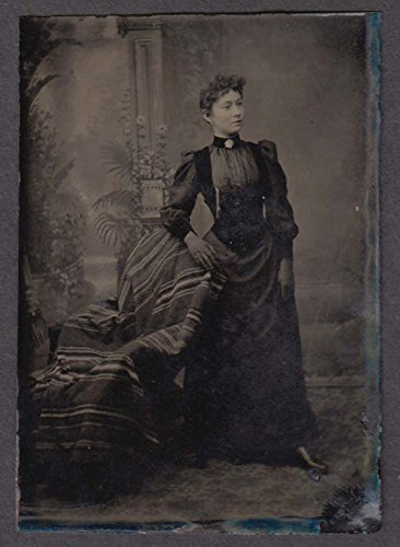 (Standing young woman studio tintype 1860s choker with pin)