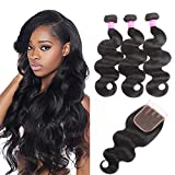 VRBest 7A Brazilian Virgin Hair 3 Bundles With Closure 100% Unprocessed Human Hair Weave Extensions With Lace Closure Brazilian Body Wave (22 24 26 +20, Free Part)