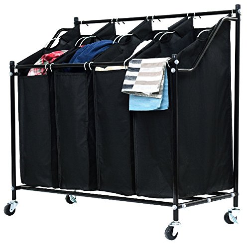 4 Bags Compartment Black Rolling Laundry Hamper Sorter Cart Household Clothes Wash Washing Organizer Storage Home Décor Compact Basket Durable Sturdy Heavy Duty Steel Construction Easy To Clean
