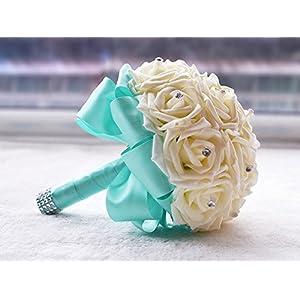 KUKI SHOP Handmade Romantic PE Roses Wedding Bouquet Free Matching Wrist Flower Bridal Holding Bouquet Bridal Throw Bouquet Bridesmaid Bouquet Wedding Decoration Flowers (Tiffany Blue) 9