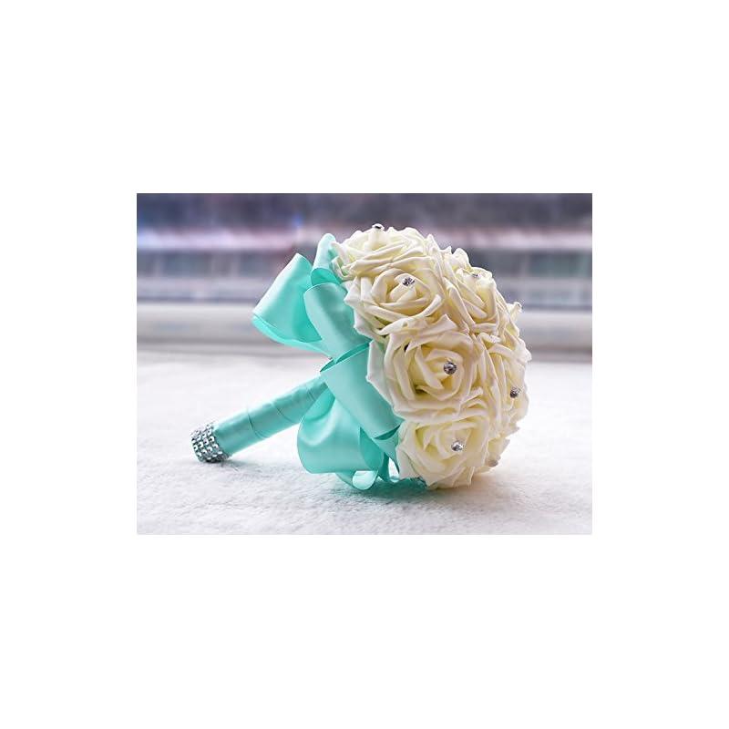 silk flower arrangements kuki shop handmade romantic pe roses wedding bouquet free matching wrist flower bridal holding bouquet bridal throw bouquet bridesmaid bouquet wedding decoration flowers (blue)