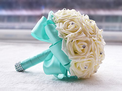 KUKI SHOP Handmade Romantic PE Roses Wedding Bouquet Free Matching Wrist Flower Bridal Holding Bouquet Bridal Throw Bouquet Bridesmaid Bouquet Wedding Decoration Flowers (Tiffany Blue) (Rose Bouquet Box Romantic)