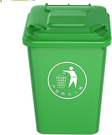 WDDLD Bote de Basura al Aire Libre, Papelera de Reciclaje de plástico Grueso con asa Conveniente para la Papelera comunitaria del jardín del Centro Comercial Cubo de Basura Green-32L: Amazon.es: Hogar