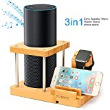 PUMICE Speaker Stand Compatible with Amazon Echo 1 st Gen Echo Plus Echo 2nd UE Boom and Other Models Apple Watch, Bamboo Bluetooth Speaker Holder with Charging Organizer, No Sound Interference,