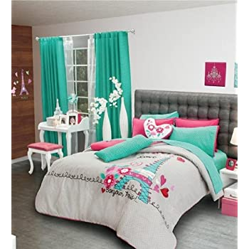 Amazon.com: Paris Reversible Comforter Set, Sheet Set and Window ...