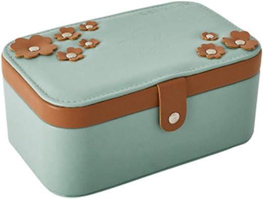 QNMM Caja Organizador De Almacenamiento Portátil Mujer Joyería 2 Capas Niñas Cajas De Viaje Regalo Rectángulo Pendientes Anillo Collar Estuche Portátil: Amazon.es: Hogar