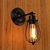 Juneslife Vintage Wall Sconce Metal Wire Caged Wall Light Industrial Vintage Style Wall Lamp for Living Room Hallway Dining Room Coffee Bar Restaurant Lobby Bedroom Kitchen- Black Classic Pattern