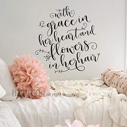 BATTOO with Grace in her Heart and Flowers in her Hair Quote Wall Decal Girls Nursery Decor Floral Nursery Decal Girls Quote Decal, 21.5