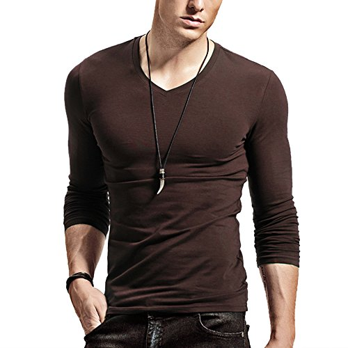 XShing Fitting Men Soft Long Sleeves Athletic Muscle Cotton T Shirt Stretchy V Neck,V Brown,Large = US Medium