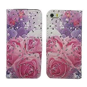 ZMY rosa rosa patrón de cuero de la PU cubierta de cuerpo completo con soporte para el iphone 5 / 5s