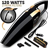 Car Vacuum - Car Vacuum Cleaner High power 120W - Portable Handheld Auto Vacuum Cleaner for car by 12V with Long Power Cord 16.4FT(5M) - 2 HEPA Filters - Carrying Bag - Black - Gifts for Men