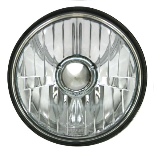 Adjure T50100 Smooth Clear Lens 5-3/4″ Diamond Cut Ice Motorcycle Headlight with H4 Bulb