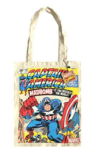 canvas tote bag shoulder shopper cotton Marvel shopping TdvwTF