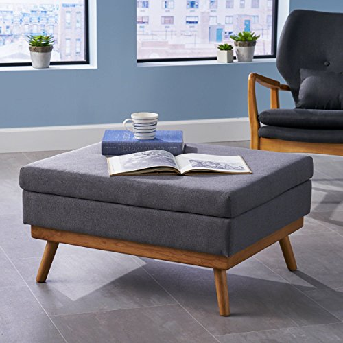 Christopher Knight Home Beryl Mid Century Fabric Ottoman in Grey, Natural