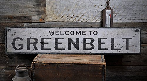 [Welcome to GREENBELT - Custom GREENBELT, MARYLAND US City, State Distressed Wooden Sign - 11.25 x 60 Inches] (City Of Greenbelt Maryland)