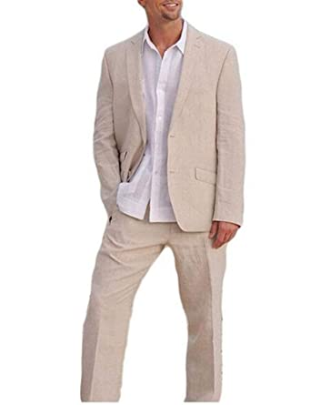 e070675f7b Beige Wedding Suits Summer Beach Men Suits 2 Pieces Groom Tuxedos 2 Buttons  at Amazon Men's Clothing store: