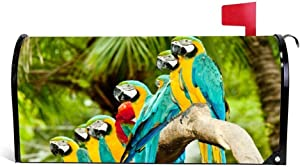 Outdoor Mailbox Cover Funny Mailbox Cover Wraps Post Box Canvas Garden Yard Home Decor for Outside Blue and Gold Macaw Parrots