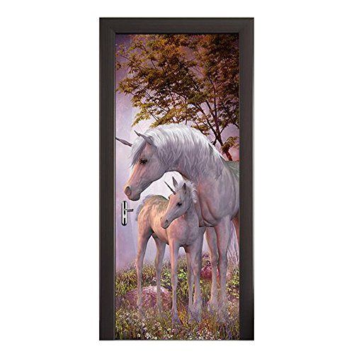 FLFK 3D Unicorn Door Murals Peel & Stick Door Sticker Wallpaper for Kid's Bedroom Home Decor 30.3x78.7(MT003) (Murals And Stick Peel)