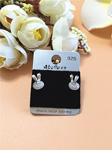 (Korean version of the new 925 Silver Micro Pave little bunny earrings earrings women girls hypoallergenic ear acupuncture full of silver earrings wild )