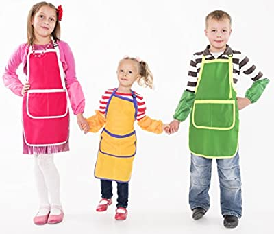 VinnCom Kids Apron Waterproof Smock with Sleeves and Pockets for Backin, Cooking and Art. Set of Aprons from Ukraine