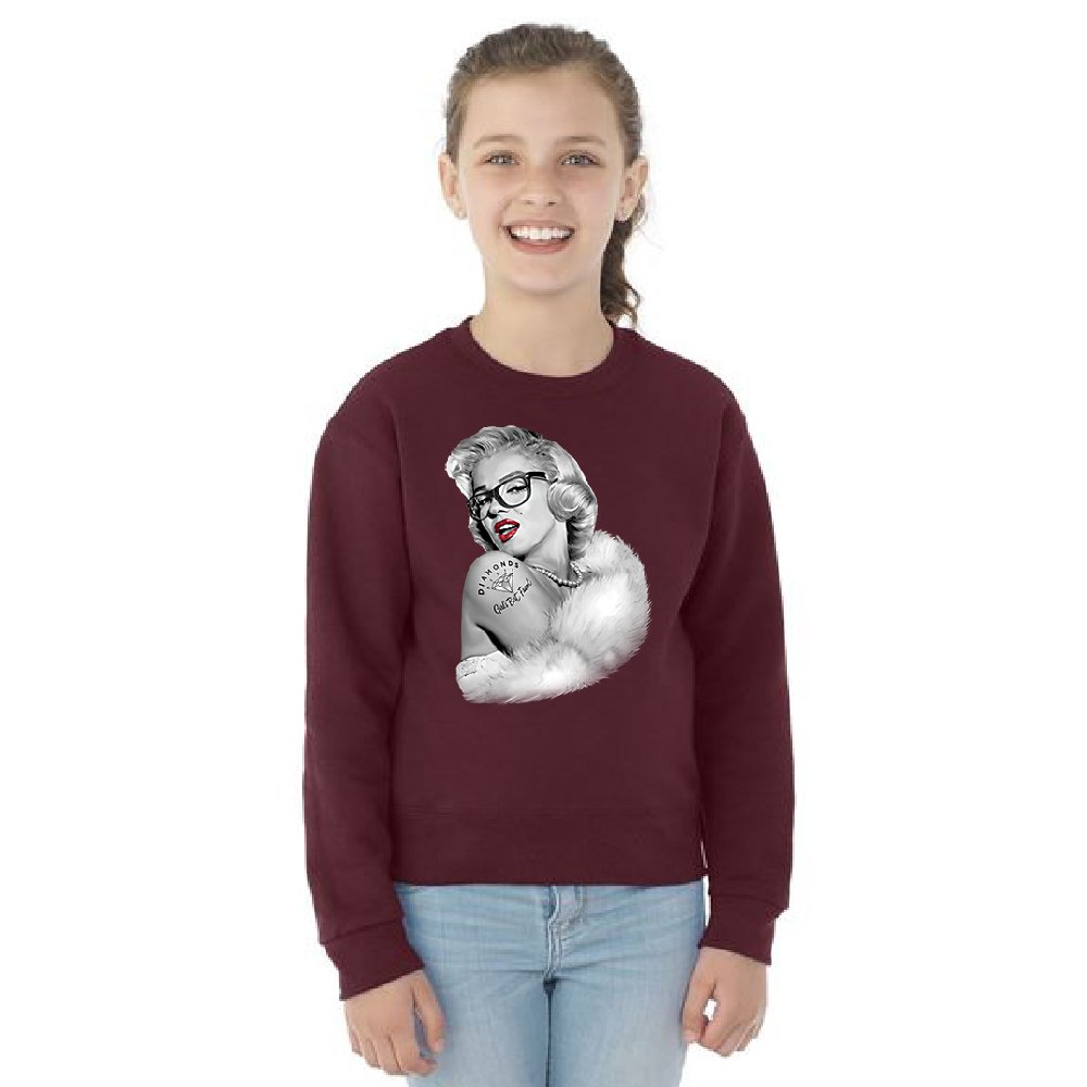 Christmas Ugly Sweater Co Blonde Marilyn Monroe Youth Crewneck Bombshell Wear Glasses Diamond Tattoo Maroon Youth Small