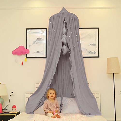 Samber Round Dome Mosquito Net Kids Indoor Outdoor Play Tent Princess Bed Canopy Cotton Bed Mantle Baby Crib Net Children Room Decoration Baby Kids Games House (Gray)