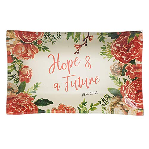 Christian Art Gifts Hope & a Future Glass Trinket Tray in White with Floral Design - Jeremiah 29:11 ()