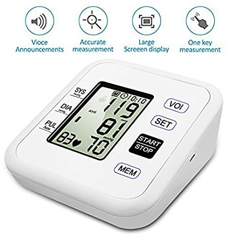 Amazon.com: WEILIGU Upper Arm Blood Pressure Monitor Digital Smart BP Meter with Large Display Cuff 8.7