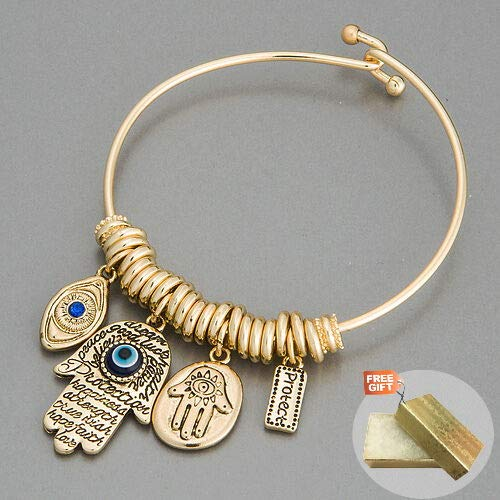 Gold Hamsa Hand Blue Eye Protect Statement Charm Indie Bohemian Style Fashion Jewelry Bracelet For Women + Gold Cotton Filled Gift Box for Free (Turquoise Hamsa Hand Bracelet)