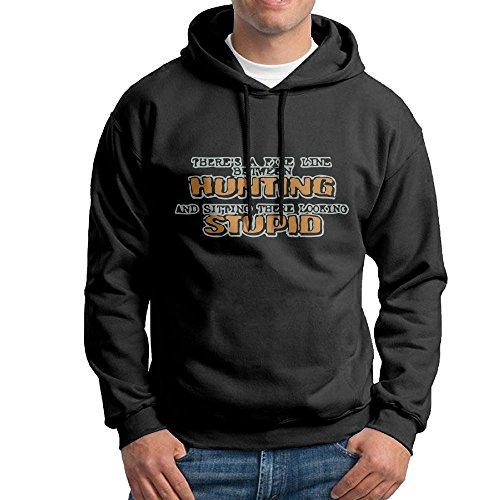 XiaoTing Men's Fine Line Between Hunting Fashion Sports Black Sweater XL
