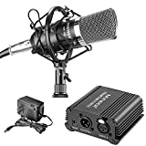 Neewer® Microphone & Phantom Power kit: (1)NW-700 Condenser Microphone+(1)48V Phantom Powe+(1)Power Adapter+(1)XLR Audio Cable+(1)Shock Mount+(1)Anti-wind Foam Cap+(1) Microphone Power Cable
