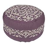 Jaipur Floral Pattern Purple Cotton Pouf, 24-Inch x 24-Inch x 12-Inch, Flint Medal